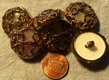 6 Large Domed Antiqued Gold Tone Faux MOP ALL Plastic Shank Buttons 1
