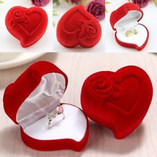 Red Rose Heart Shaped Ring Earring Display Jewelry Box Gift Velvet Storage 1Pc