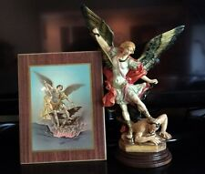 Saint Michael the Archangel STATUE & WALL PICTURE A.Santini Italy Original Box