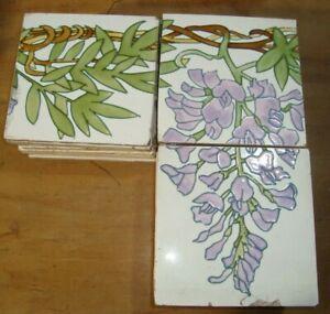 Purple Orchid leaves 36 France Sarreguemines Original antique reclaimed tiles