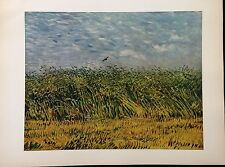 """1950 Vintage Full Color Art Plate """"A WHEAT FIELD"""" VAN GOGH GORGEOUS Lithograph"""