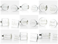 Silver Engraved Wedding Cufflinks Cuff Links Personalised Gift Wedding Best Man