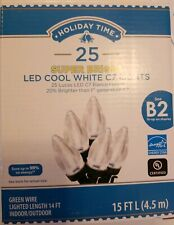 Super bright Holiday Time 25 LED C7 Lights COOL WHITE Energy Star Christmas NEW