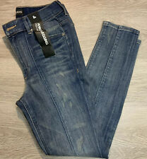 Womens Express Distressed High Rise Ankle Leggings Size 8R Medium Wash