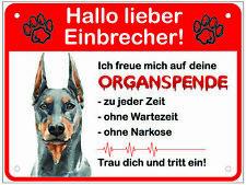 Hundeschild Dobermann Lustig Alu 20x15cm Schild Hund Warnung Warnschild Achtung