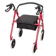 Heavy Duty Folding Rolling Rollator Walker Wide Seat 4 Wheels Walking Aids US