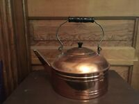 Antique ROME Copper Tea Kettle With Metal and Wood Bail Handle