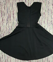 TOPSHOP Fit & Flare Mesh Dress Size 8 Black Stretch Sleeveless TINY DEFECT