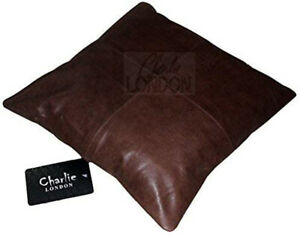 2 x Genuine 100% Vintage Brown Leather Sofa Cushion Covers Home Decor