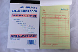 10 Pack Sales Order Books Receipt Set Wholesale 50 Duplicate Carbonless Forms
