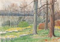 TREES IN SPRING LANDSCAPE Watercolour Painting 1953