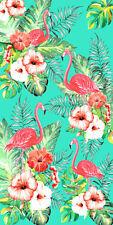 "30""x60"" Flamingos & Flowers Velour Beach Towel ""Made In Brazil"""