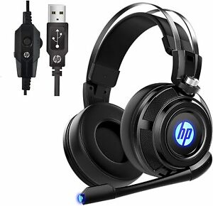 HP Wired Stereo Gaming Headset with Mic for PC, Mac, Laptop, Over Ear Headphones