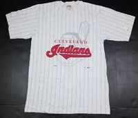 Vtg Cleveland Indians MLB Nutmeg Pinstripe Chief Wahoo Gray 90s T-Shirt M USA
