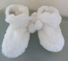Next Girls Slippers Boots Infant 6 23 BNWT White Fluffy Furry Pom Pom