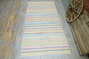 5.7x11, VINTAGE TURKISH Oushak Neutral Pastel Area Rug, Wide Runner, Rag rug