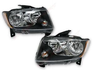 Pair Black Housing Headlights (Halogen Ver.) for 2011-2013 Jeep Grand Cherokee