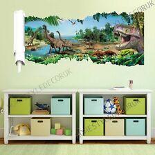 Jurassic Park Dinosaur World T-Rex Wall Crack Stickers Art Decal Kids Mural Home