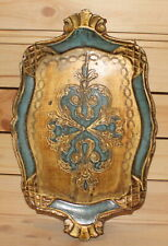 Vintage hand made floral wood tole serving tray