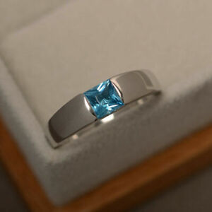 14K White Gold Over Princess Cut 0.80Ct Blue Topaz Anniversary Solitaire Ring