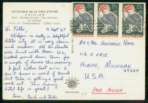 Mayfairstamps IVORY COAST COMMERCIAL 1967 POSTCARD ABIDJAN WITH STRIP OF 3 wwm43
