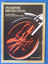 Speedway Programme - British Final - 22/5/88 - Held at Coventry