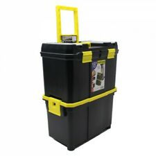 """18"""" Double Mobile Tool Box Pull Along Trolley on Wheels Parts Organiser NEW"""