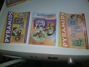 3X CRAFT BOOK FOR NAKE CARDS 21X15 CM NEW PYRAMIDS/SCISSORS NEED (B)