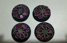 "VTG/4-BUTTONS-DECORATIVE PURPOSE ONLY/BEADS&PURP.SEQUENCE/BLK.WOVEN/1.5""/FASHION"