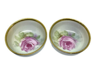 Small Round BAVARIA Butter Pats Shallow Dishes Gold Trim Handpainted Flowers Two