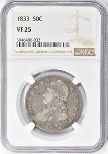 1833 Capped Bust Half Dollar 50c NGC VF 25