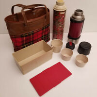Vintage Red Plaid Double Thermos & Sandwich Box Picnic Bag Travel Lunch Set