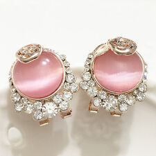 Moonstone Round Pink Diamond Floral Earrings Gemstone Women Jewelry Gold Plated