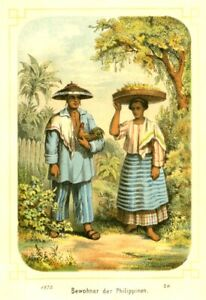 Philippines, People in Costumes, gamecock, cockfight, original lithography  1875