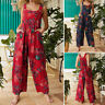 UK Womens Jumpsuit Strappy Summer Floral Rompers Beach Loose Overalls Long Pants