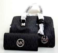 Michael Kors Medium Grayson PVC Signature Black Satchel Bag &Wallet