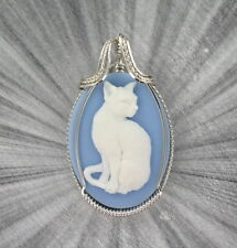 CAT CAMEO PENDANT NECKLACE IN STERLING SILVER WIRE WRAPPED