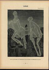 Ghosts Creeping Graveyard Homeopathy Haunt 1901 vintage color Art Nouveau print