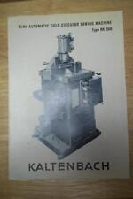 Vtg Hans Kaltenbach Brochure~RK-350 Circular Sawing Machine~Tool Catalog