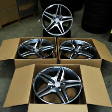 """Fits Mercedes AMG C S CLA CLK E Class 18"""" 5 Twin Style Staggered Wheels Gunmetal"""