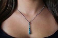 Blue Indicolite Swarovski Element Crystals Glass Pendant Silver Chain Necklace