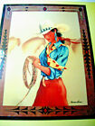 'COWGIRL' CLAY WALL ART by DORMAN BURNS - WATERCOLOR ON PRINT - SIGNED