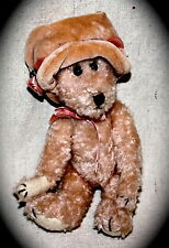 Boyds jointed plush bear pink with hat