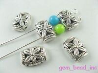 Free Shipping 100pcs tibet silver flower double hole spacer beads Bracelet  Shop