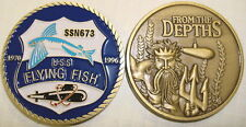 NAVY USS FLYING FISH SSN-673 FROM THE DEPTHS MILITARY SUBMARINE CHALLENGE COIN