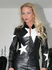 Lederjacke Leder Jacke Schwarz / Weiß Blouson Sterne Maßanfertigung