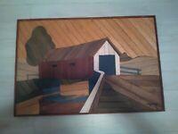 Vintage Rare Degroot Wood Lath Art. Covered Bridge