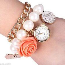 Elegante Orologio Bracciale Vintage Perle Fiore Pendente Donna Ragazza Retro'