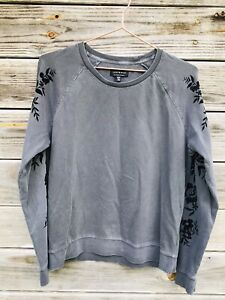 Lucky Brand Sweatshirt Floral Appliqué Detailed Sleeves Gray Women's SZ M