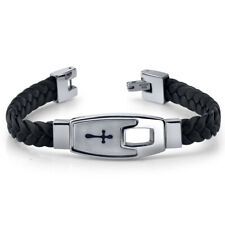 Mens Stainless Steel and Braided Leather Cross Motif Bracelet